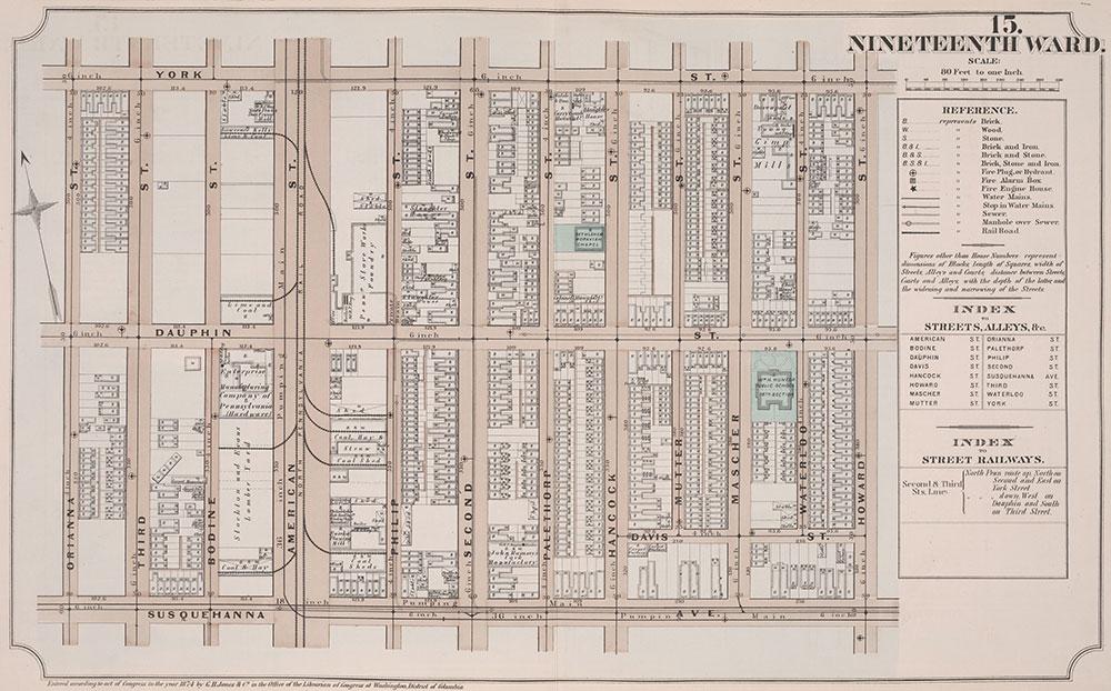 Atlas of Philadelphia, 19th Ward, 1874, Plate 15