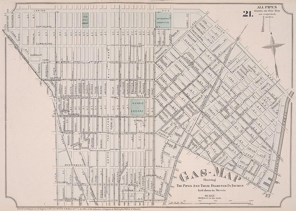 Atlas of Philadelphia, 19th Ward, 1874, Plate 21