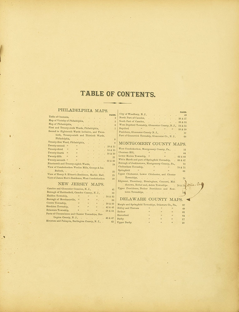 Atlas of Philadelphia and Environs, Contents