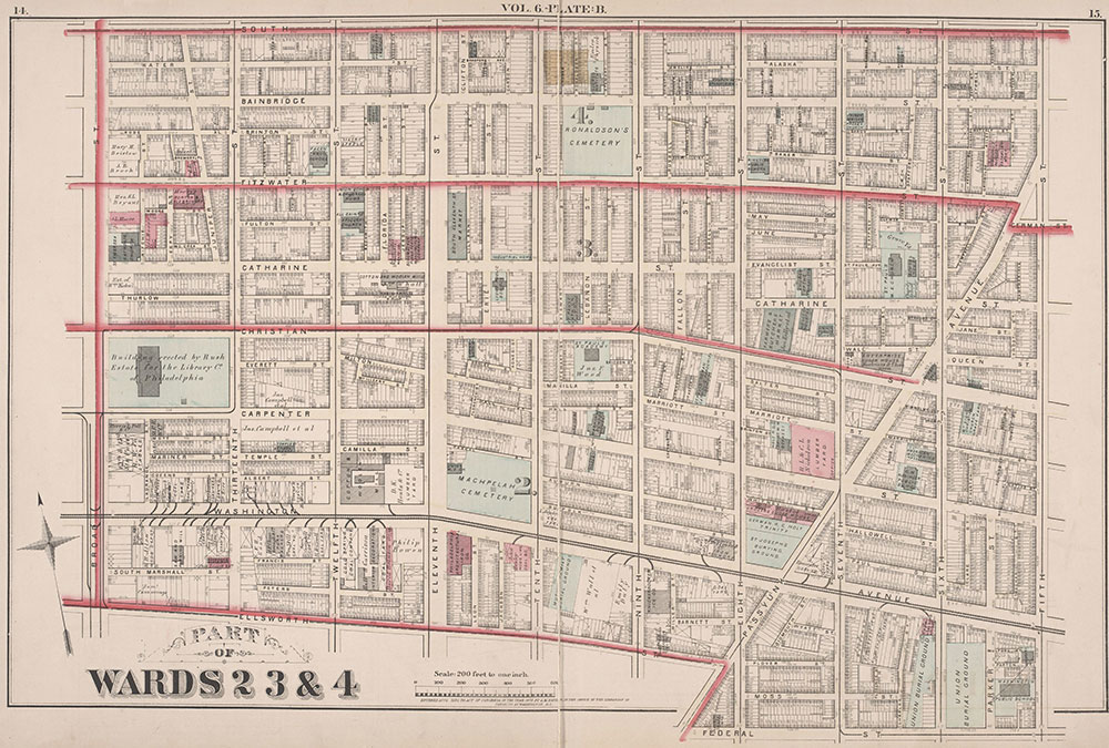 City Atlas of Philadelphia, 2nd to 20th and 29th and 31st Wards, 1875, Plate B