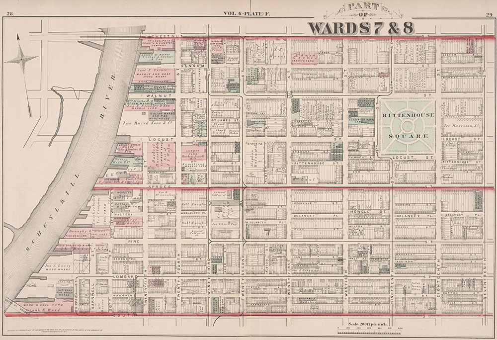City Atlas of Philadelphia, 2nd to 20th and 29th and 31st Wards, 1875, Plate F