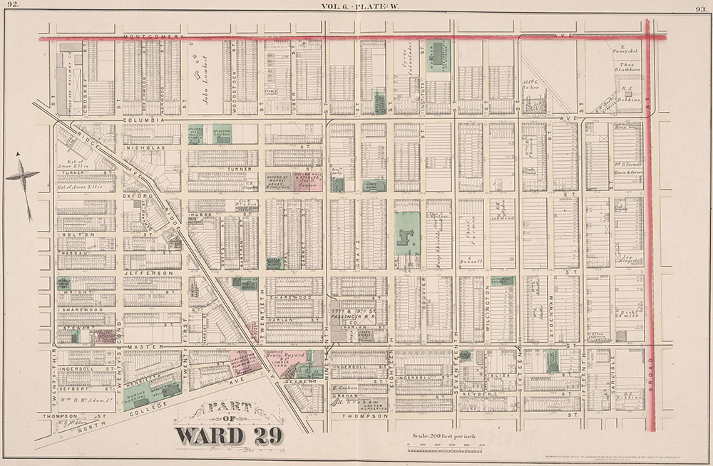 City Atlas of Philadelphia, 2nd to 20th and 29th and 31st Wards, 1875, Plate W