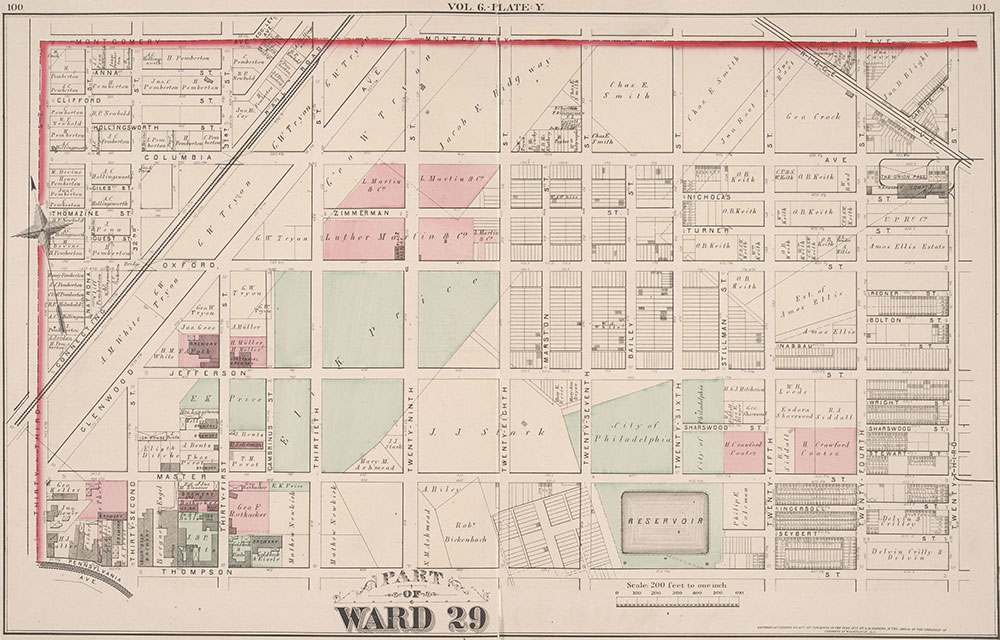 City Atlas of Philadelphia, 2nd to 20th and 29th and 31st Wards, 1875, Plate Y