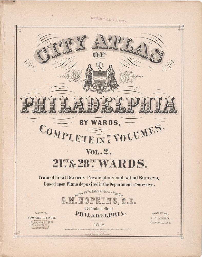 City Atlas of Philadelphia, 21st & 28th Wards, 1875, Title Page