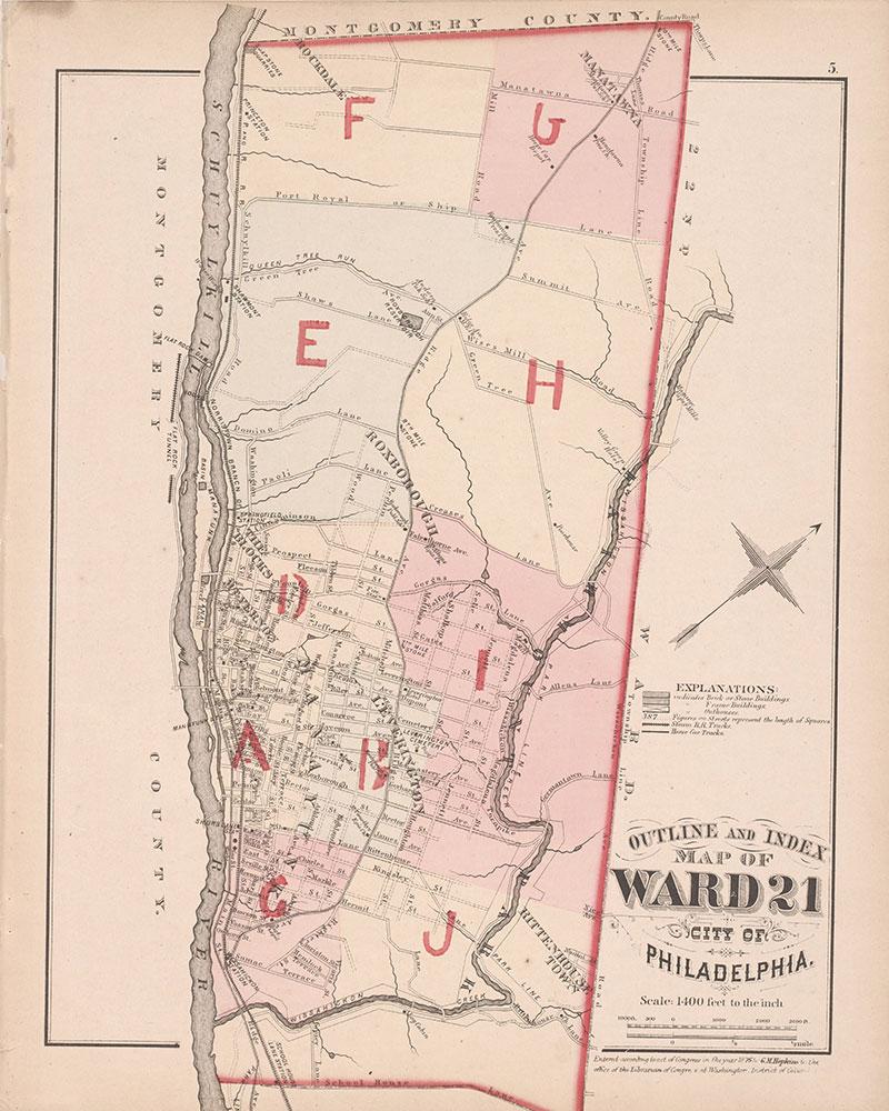 City Atlas of Philadelphia, 21st & 28th Wards, 1875, 21st Ward Index Map