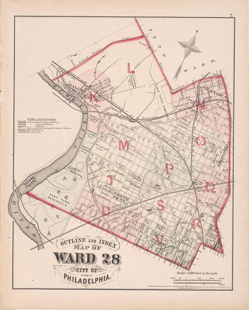 City Atlas of Philadelphia, 21st & 28th Wards, 1875, 28th Ward Map Index