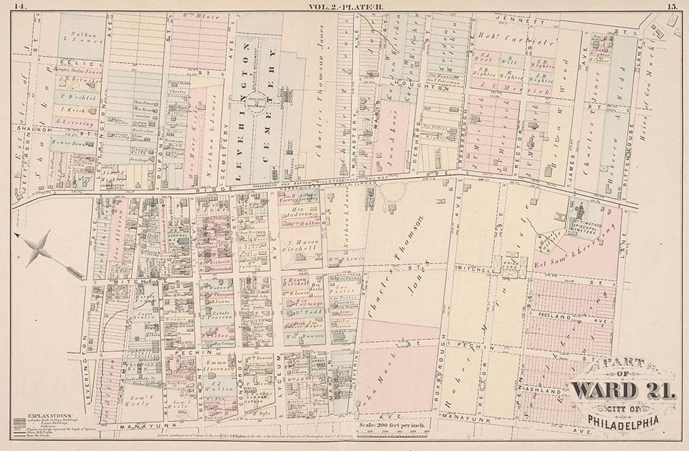 City Atlas of Philadelphia, 21st & 28th Wards, 1875, Plate B