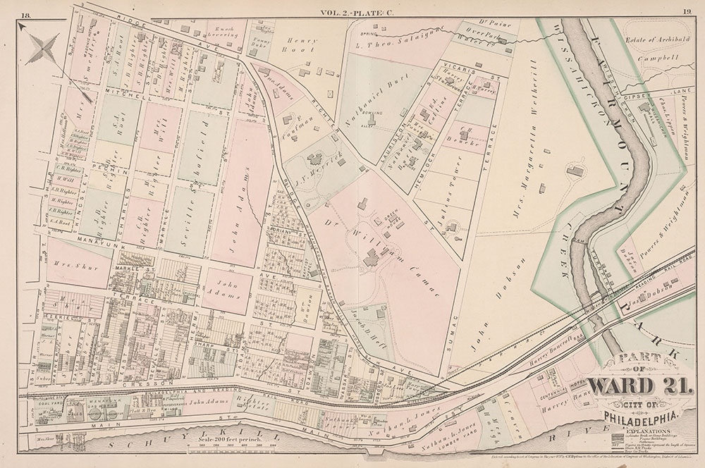 City Atlas of Philadelphia, 21st & 28th Wards, 1875, Plate C