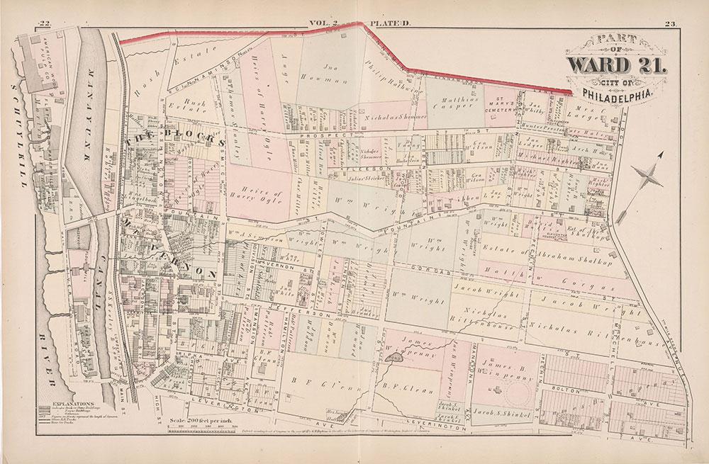 City Atlas of Philadelphia, 21st & 28th Wards, 1875, Plate D