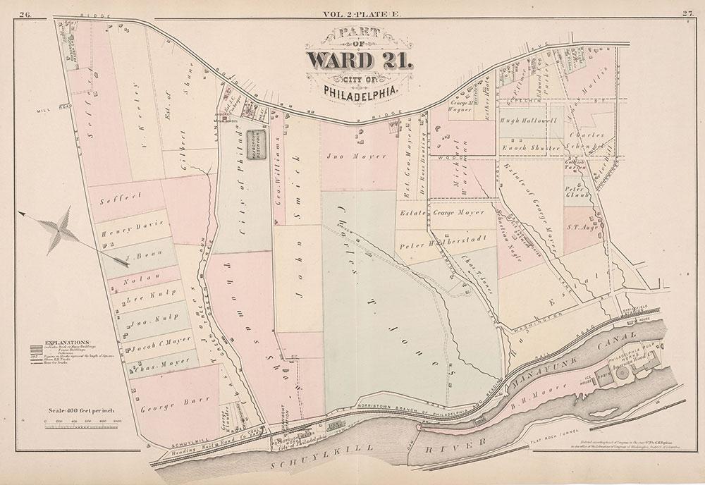 City Atlas of Philadelphia, 21st & 28th Wards, 1875, Plate E