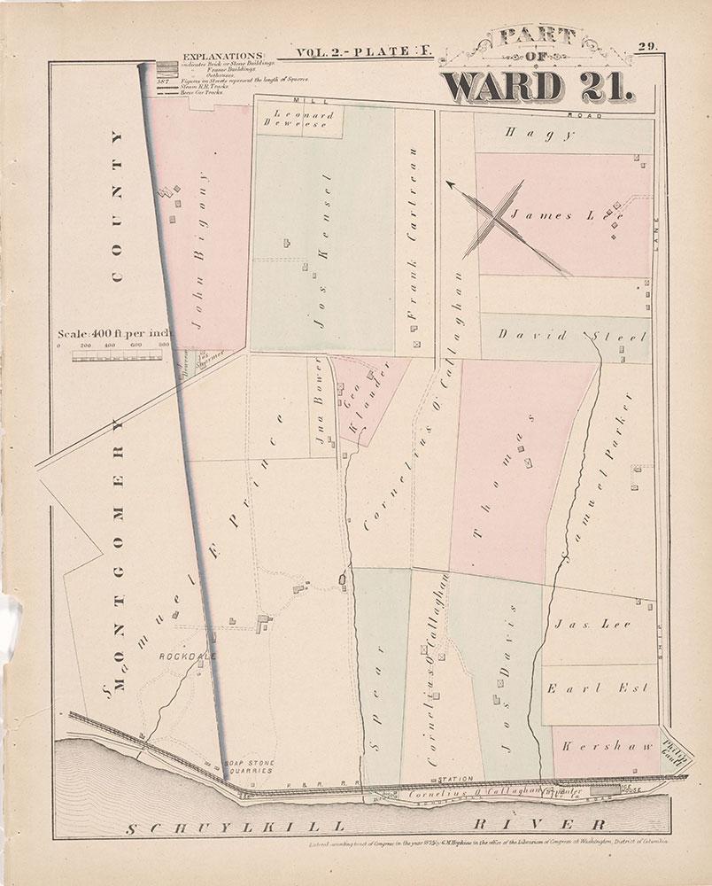 City Atlas of Philadelphia, 21st & 28th Wards, 1875, Plate F