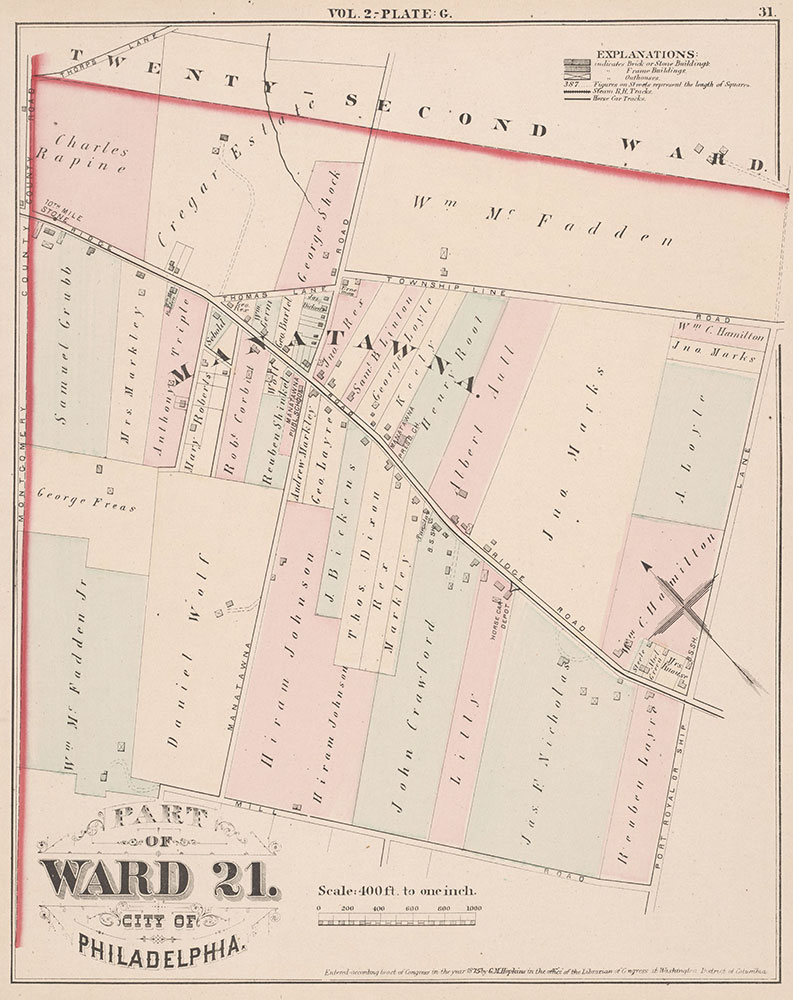City Atlas of Philadelphia, 21st & 28th Wards, 1875, Plate G
