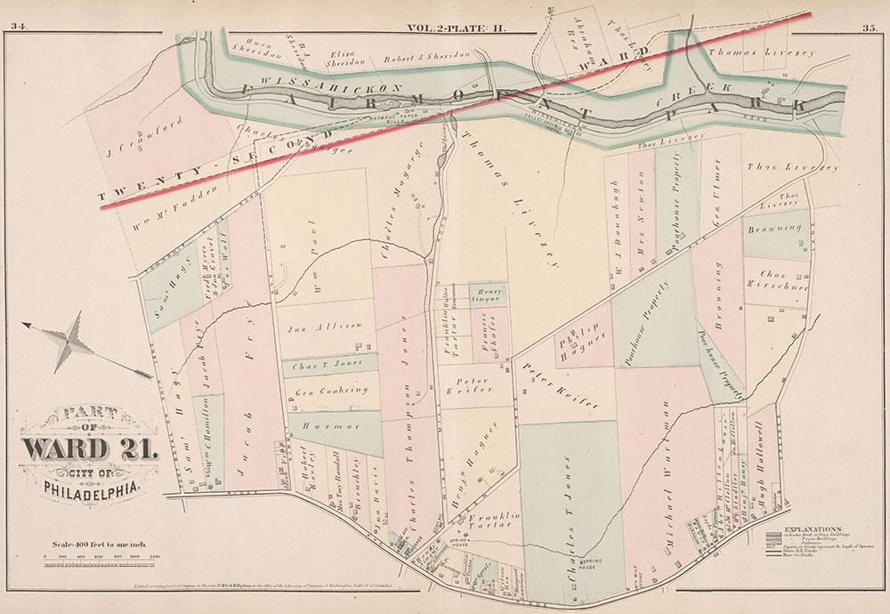 City Atlas of Philadelphia, 21st & 28th Wards, 1875, Plate H