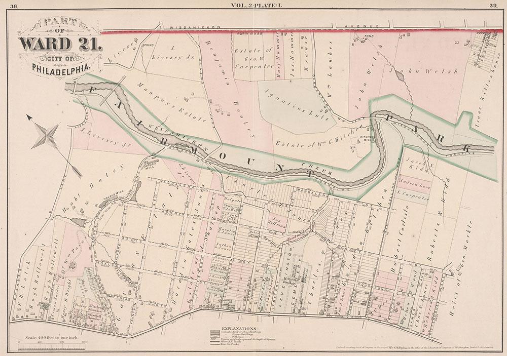 City Atlas of Philadelphia, 21st & 28th Wards, 1875, Plate I