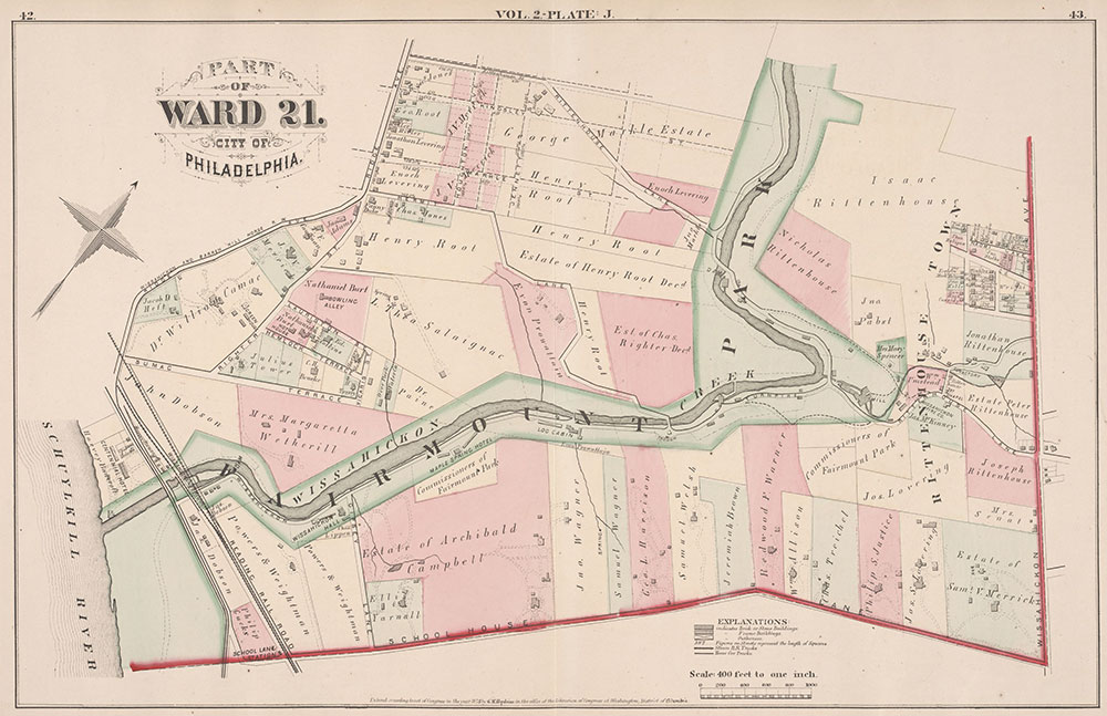 City Atlas of Philadelphia, 21st & 28th Wards, 1875, Plate J