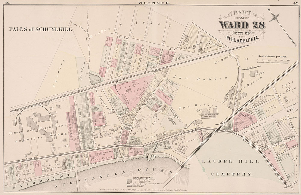 City Atlas of Philadelphia, 21st & 28th Wards, 1875, Plate K