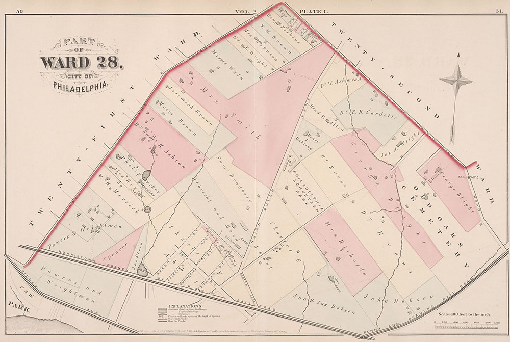 City Atlas of Philadelphia, 21st & 28th Wards, 1875, Plate L