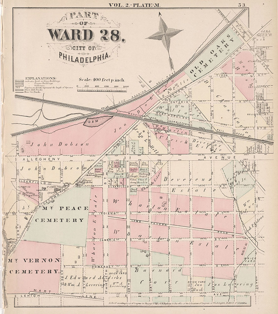 City Atlas of Philadelphia, 21st & 28th Wards, 1875, Plate M