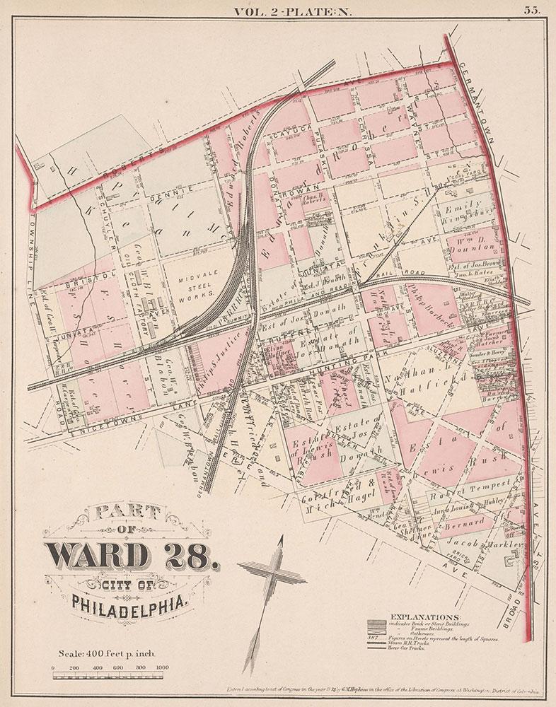 City Atlas of Philadelphia, 21st & 28th Wards, 1875, Plate N