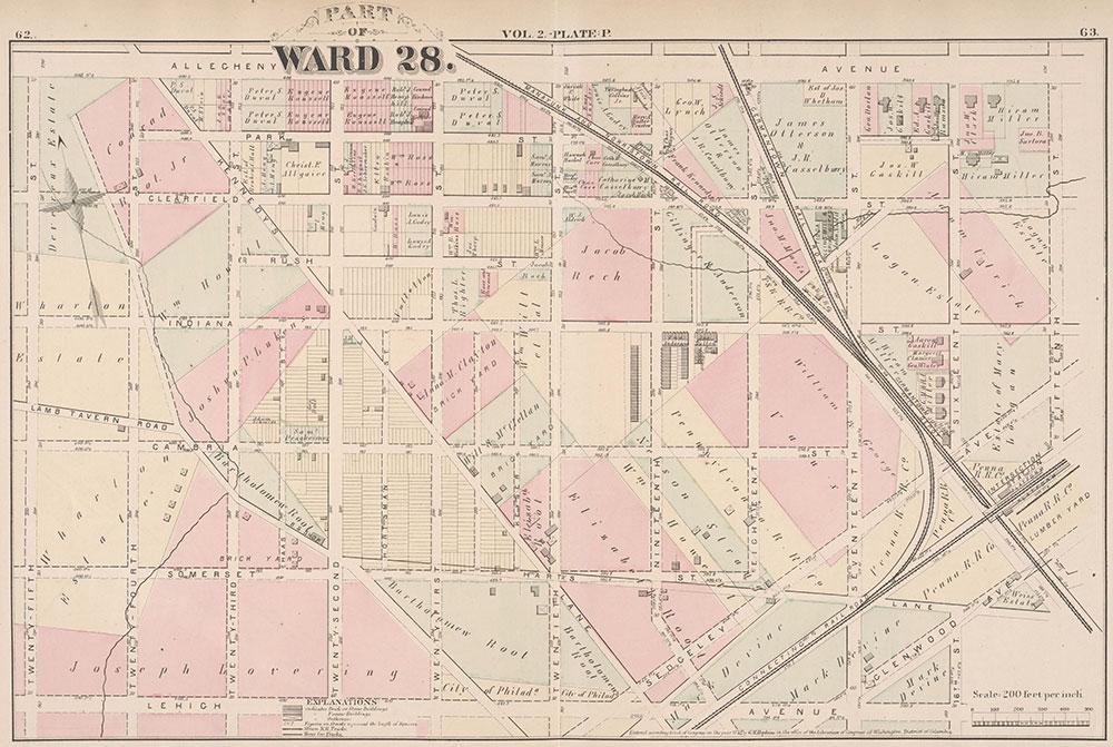 City Atlas of Philadelphia, 21st & 28th Wards, 1875, Plate P
