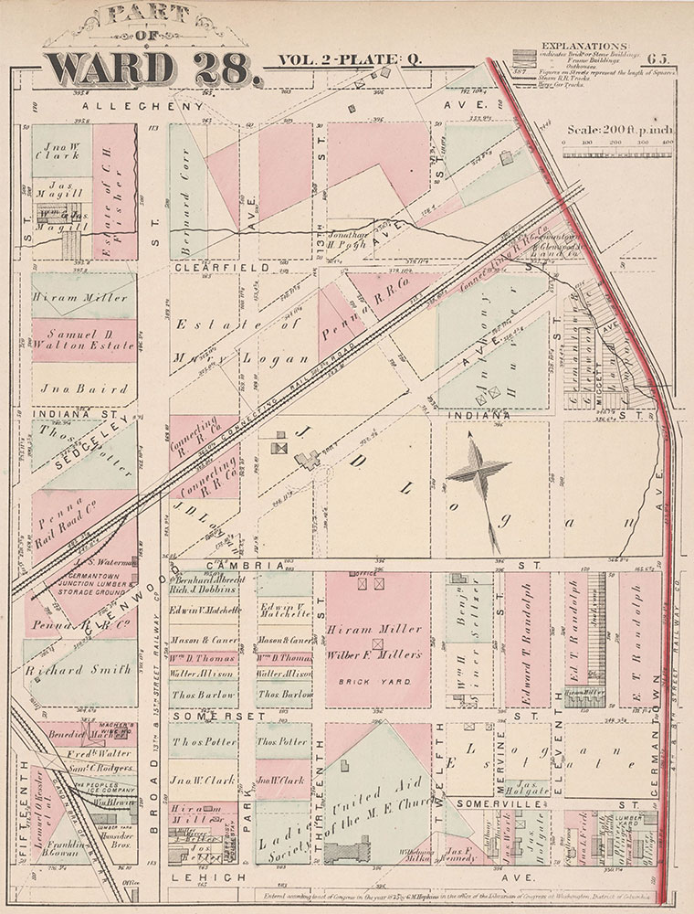 City Atlas of Philadelphia, 21st & 28th Wards, 1875, Plate Q