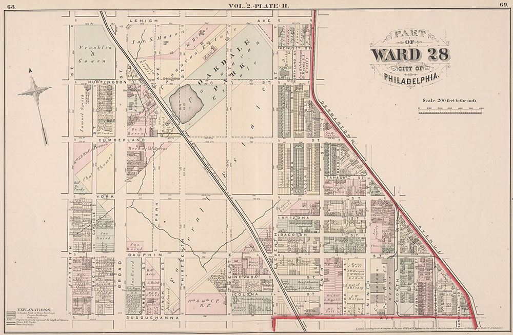 City Atlas of Philadelphia, 21st & 28th Wards, 1875, Plate R