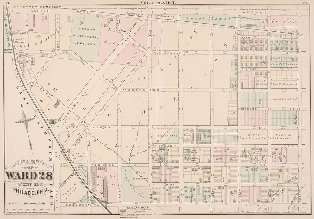City Atlas of Philadelphia, 21st & 28th Wards, 1875, Plate T