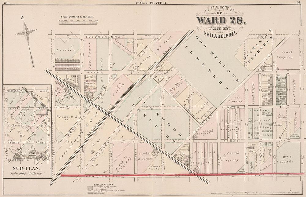 City Atlas of Philadelphia, 21st & 28th Wards, 1875, Plate U