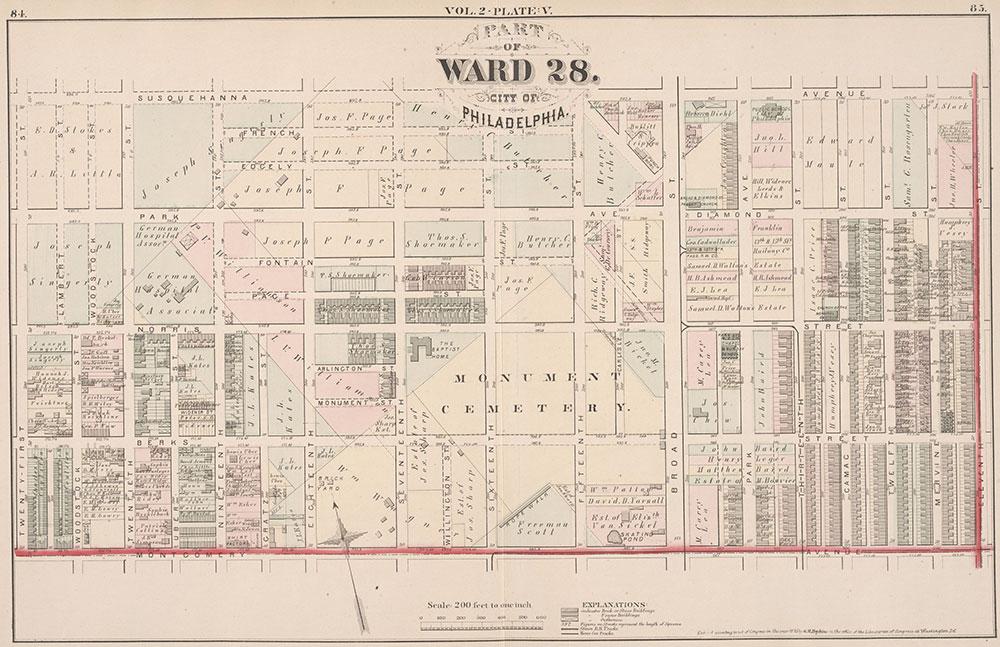 City Atlas of Philadelphia, 21st & 28th Wards, 1875, Plate V