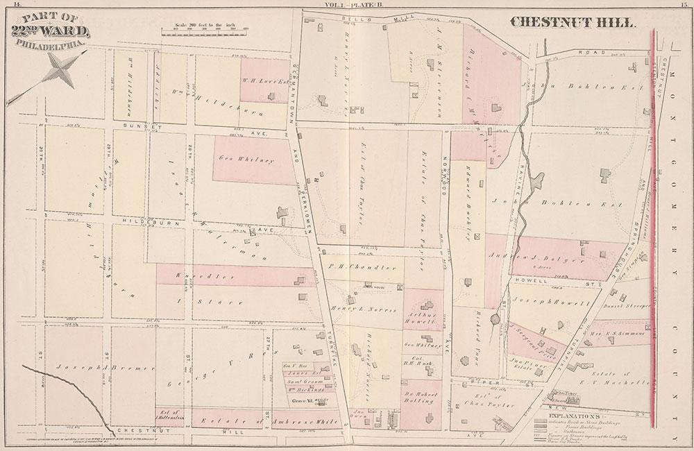 City Atlas of Philadelphia, 22nd ward, 1876, Plate B