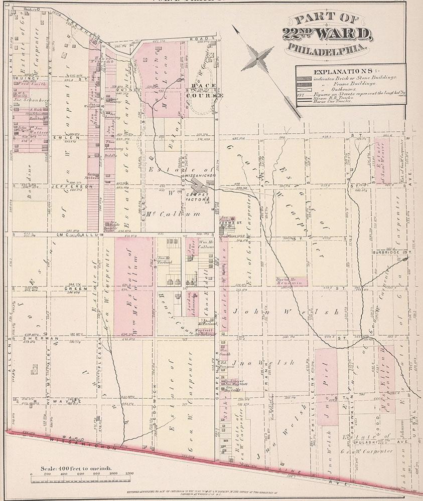 City Atlas of Philadelphia, 22nd ward, 1876, Plate F