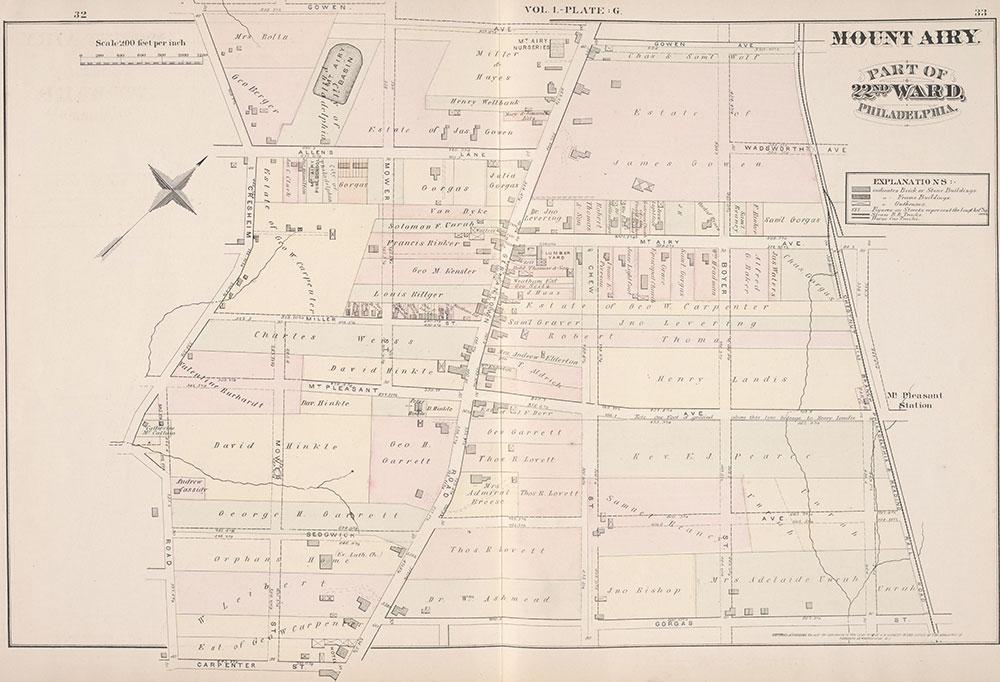 City Atlas of Philadelphia, 22nd ward, 1876, Plate G