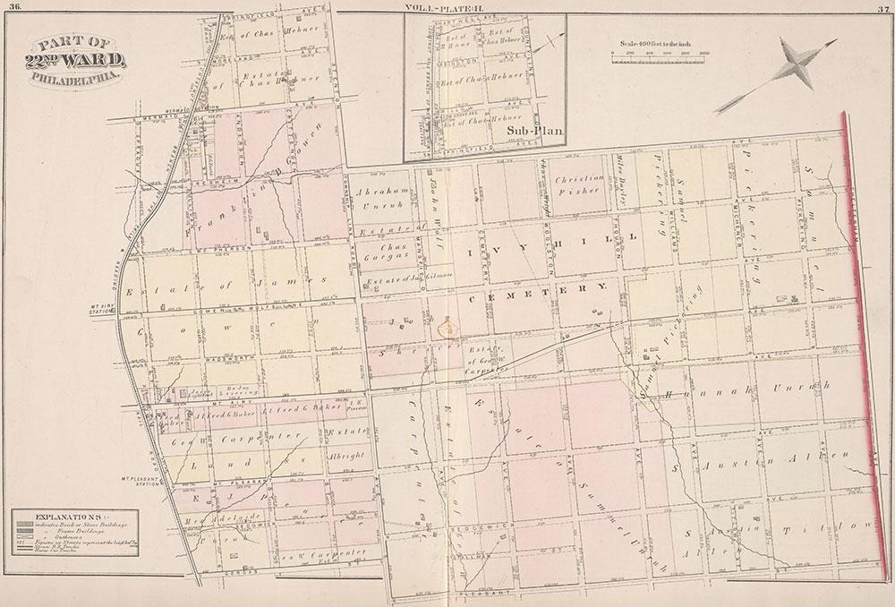 City Atlas of Philadelphia, 22nd ward, 1876, Plate H