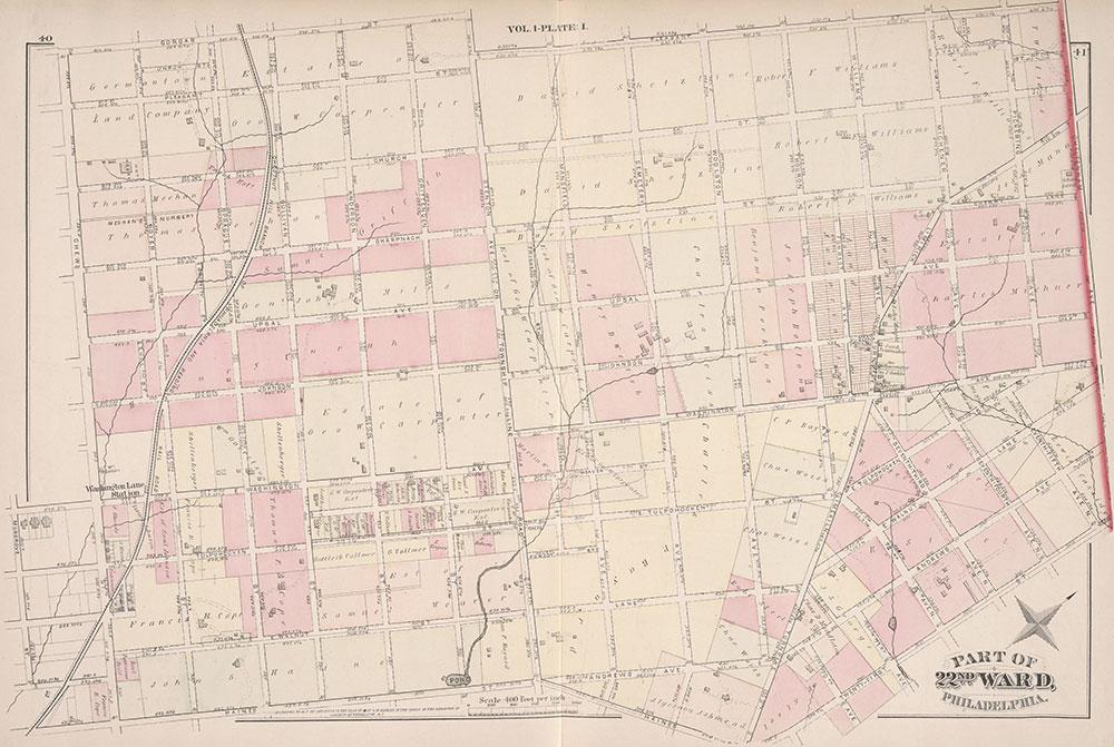 City Atlas of Philadelphia, 22nd ward, 1876, Plate I