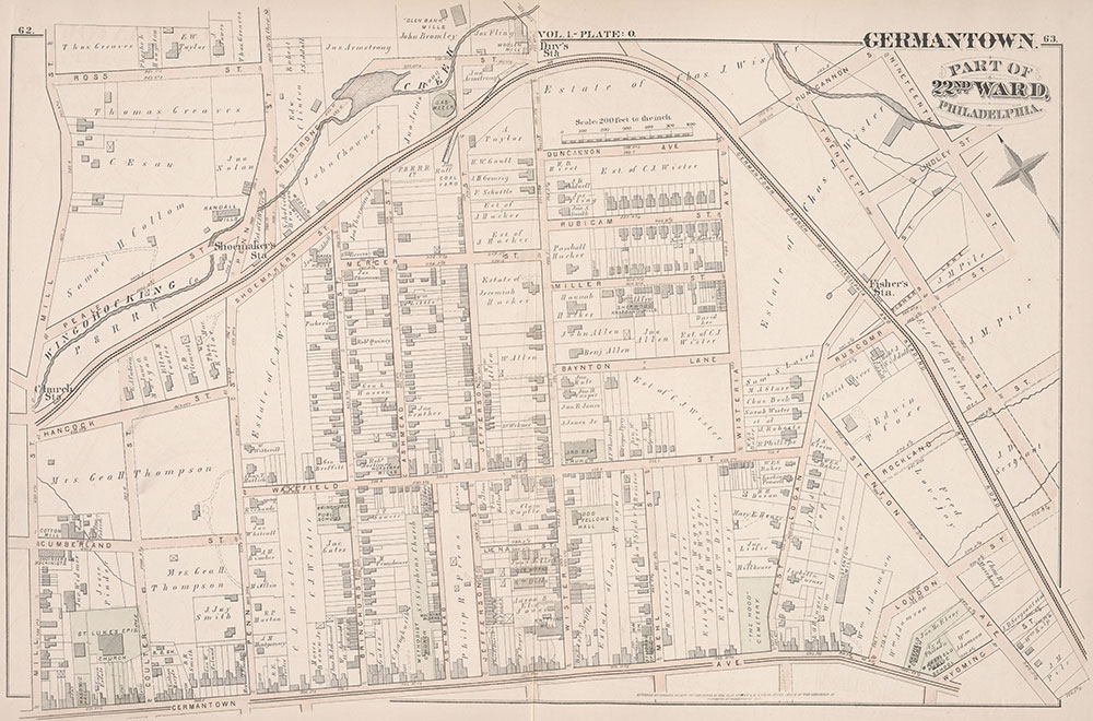 City Atlas of Philadelphia, 22nd ward, 1876, Plate O