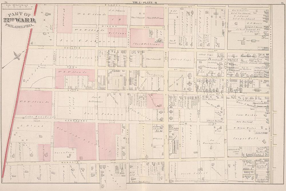 City Atlas of Philadelphia, 22nd ward, 1876, Plate Q