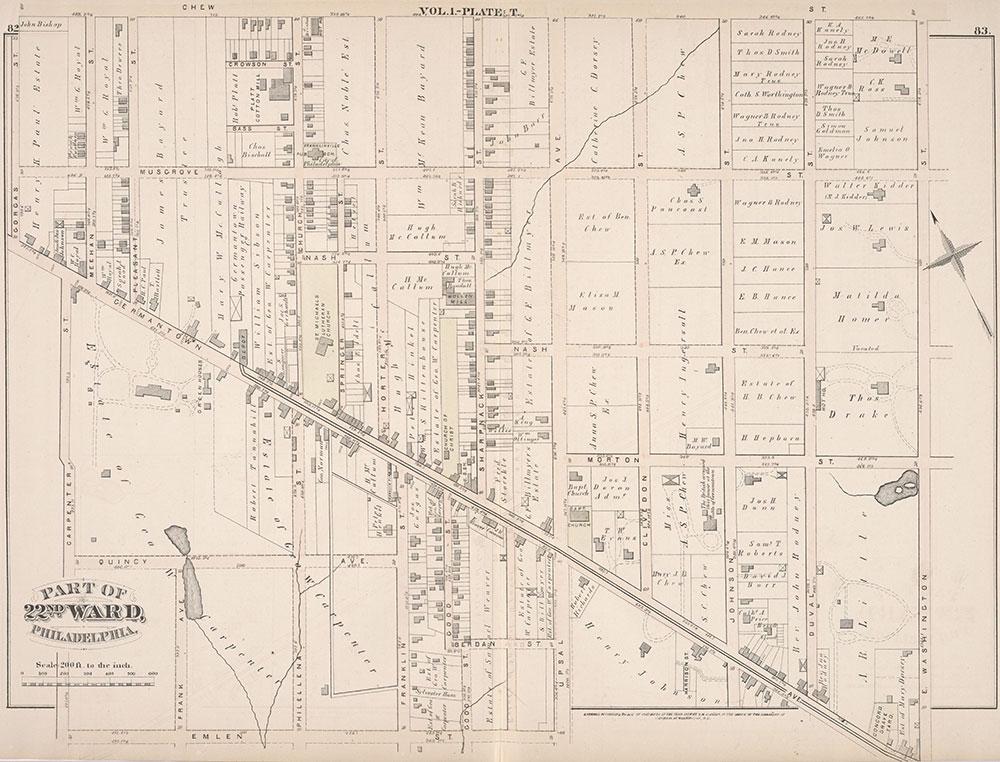 City Atlas of Philadelphia, 22nd ward, 1876, Plate T