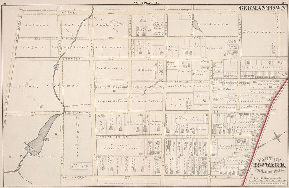 City Atlas of Philadelphia, 22nd ward, 1876, Plate U