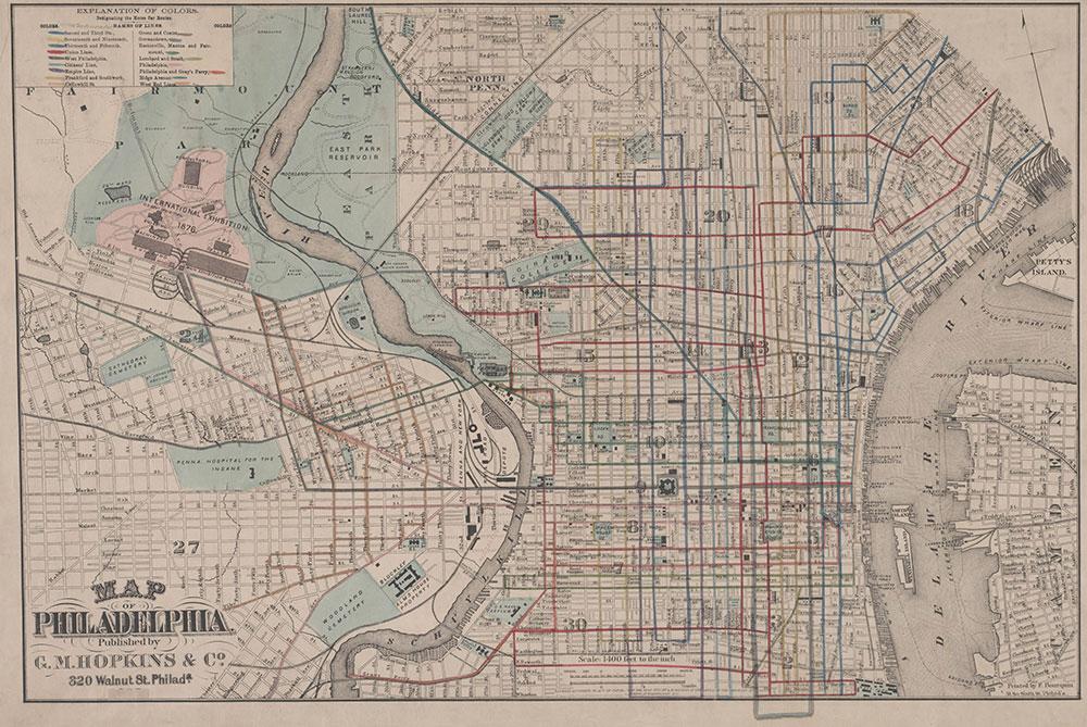 G.M. Hopkins, Map of Philadelphia Designating the Horse Car Routes, 1875, Map