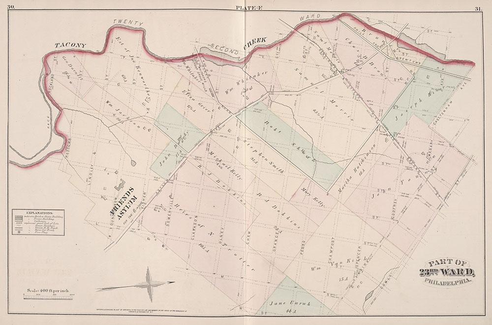 City Atlas of Philadelphia, 23rd Ward, 1876, Plate E