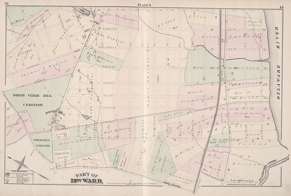 City Atlas of Philadelphia, 23rd Ward, 1876, Plate I