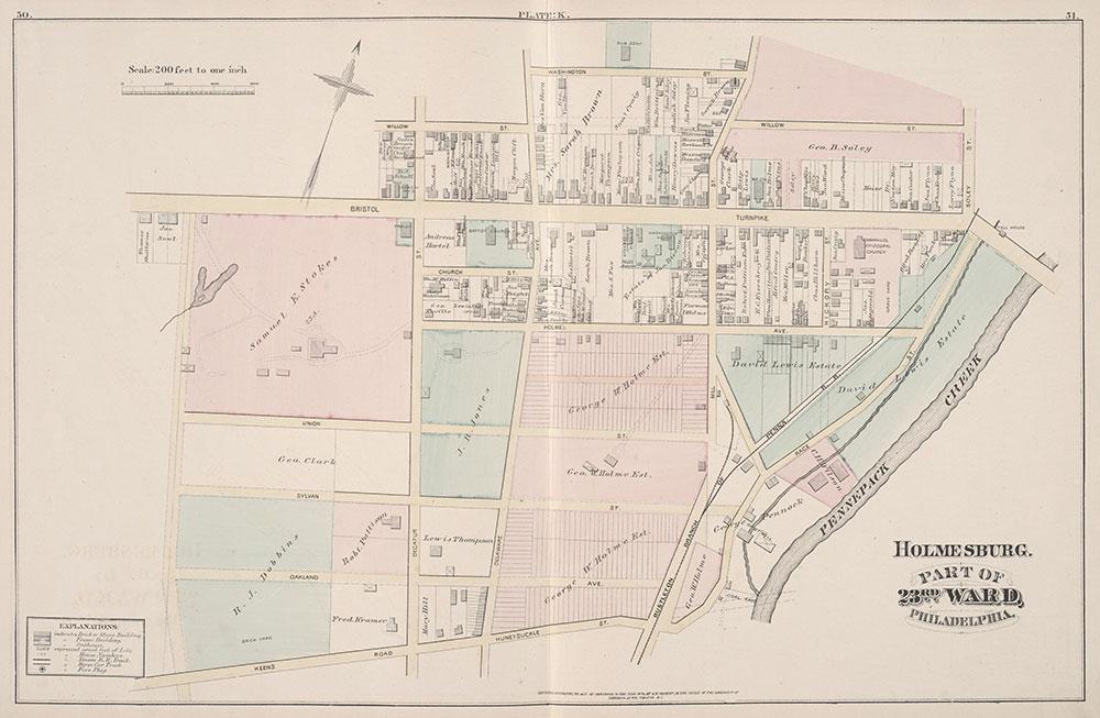 City Atlas of Philadelphia, 23rd Ward, 1876, Plate K