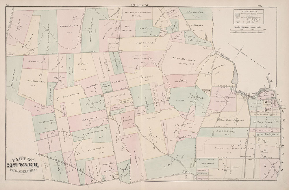 City Atlas of Philadelphia, 23rd Ward, 1876, Plate M