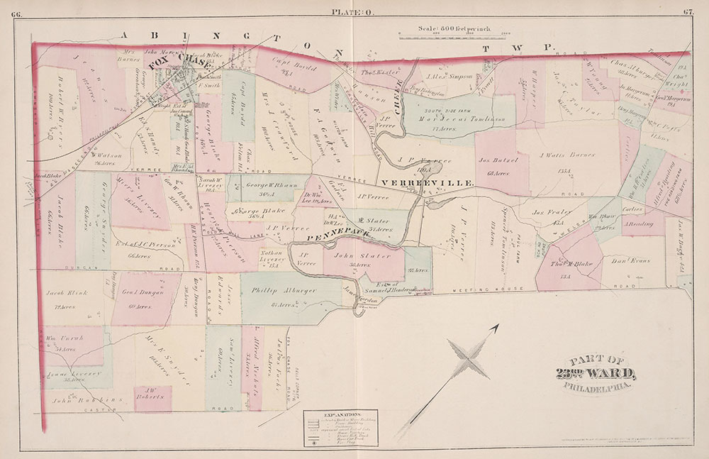City Atlas of Philadelphia, 23rd Ward, 1876, Plate O