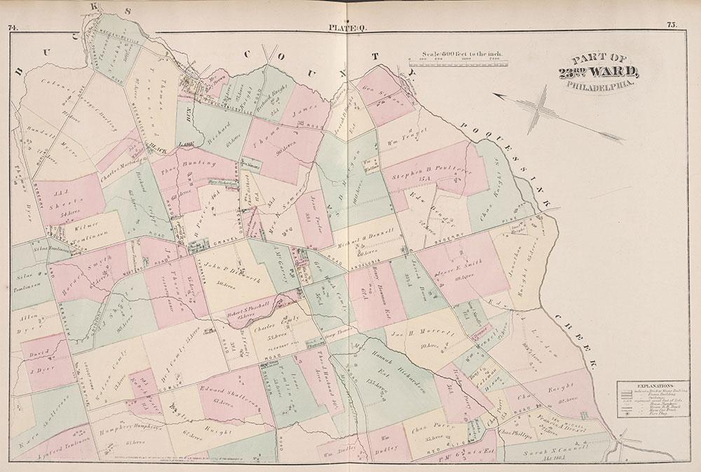 City Atlas of Philadelphia, 23rd Ward, 1876, Plate Q
