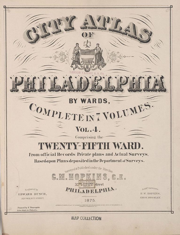 City Atlas of Philadelphia, 25th Ward, 1875, Title Page