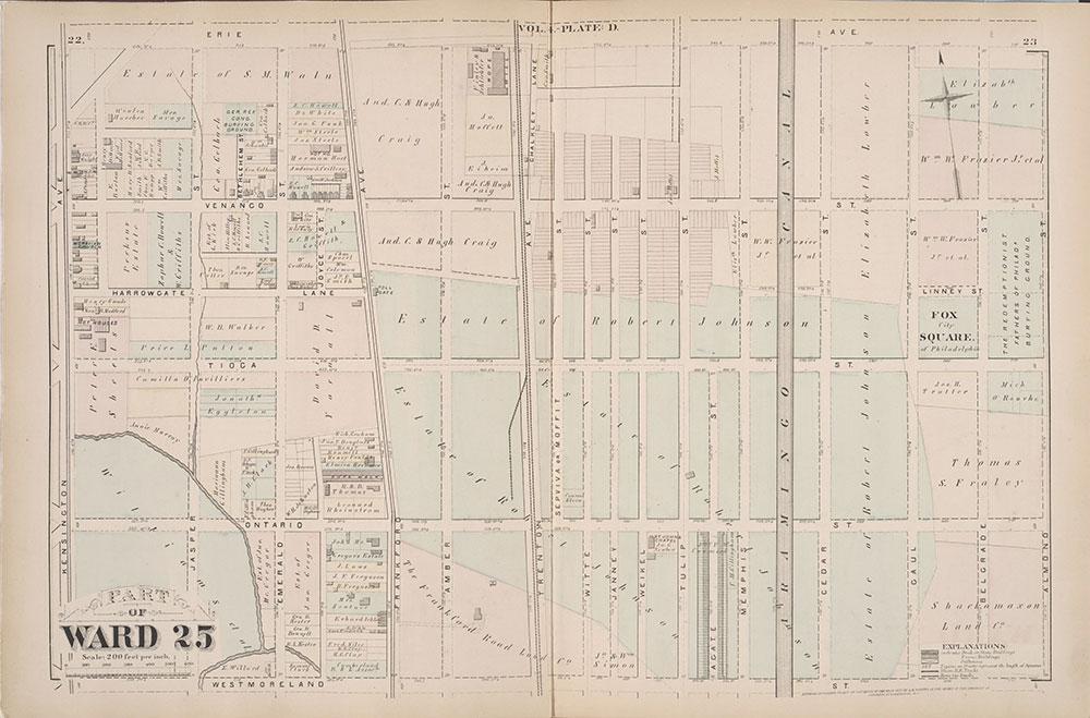 City Atlas of Philadelphia, 25th Ward, 1875, Plate D
