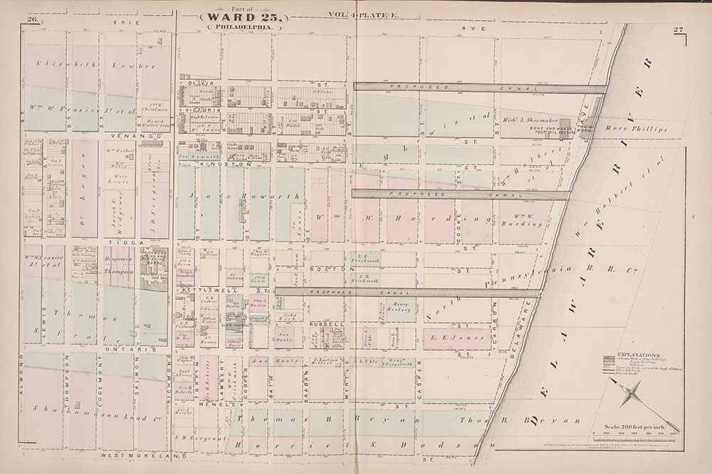 City Atlas of Philadelphia, 25th Ward, 1875, Plate E