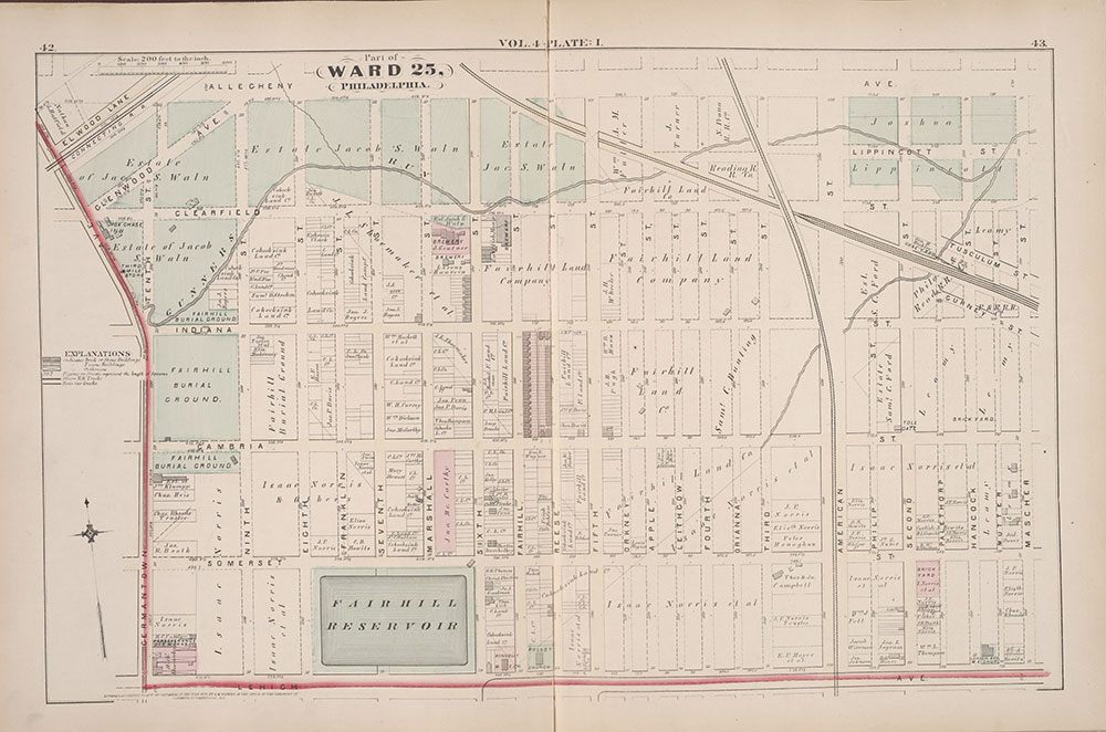 City Atlas of Philadelphia, 25th Ward, 1875, Plate I
