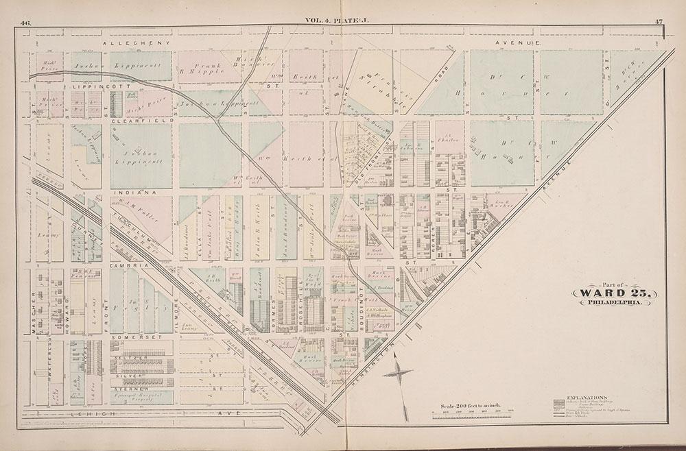 City Atlas of Philadelphia, 25th Ward, 1875, Plate J